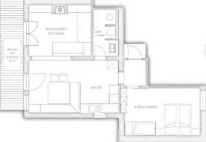 Chalet Tannenhof Lermoos Zugspitze Tirol Grundriss Appartement mit Kamin kleines Bergfeuer