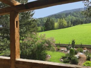 Chalet Tannenhof Lermoos Blick in den Garten
